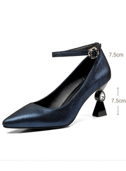 Stylish Pointed Toe Buckle High Heel Shoes