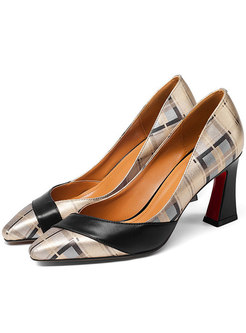 Women Plaid Print Cowhide Squre Heel Shoes
