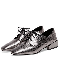 Stylish Square Toe Tied Metal Cowhide Shoes