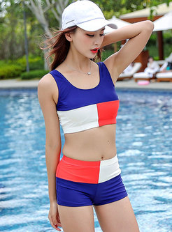 Trendy Color-blocked Active Bikini & Cover-up