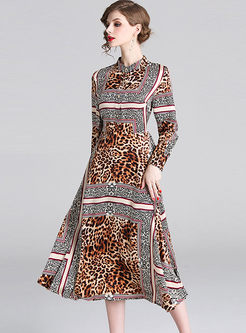 Standing Collar Single-breasted Leopard Dress
