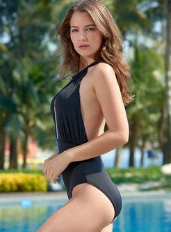 Sexy Halter Backless One Piece Swimwear