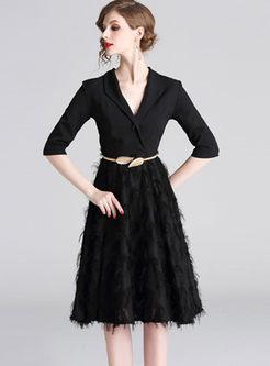 Fashion V-neck Tassel Waist Skater Dress