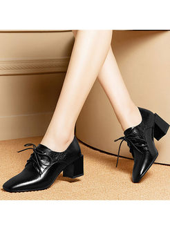 Casual Solid Color Tied Square Heel Shoes