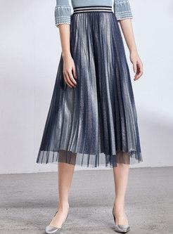 Stylish Gauze Elastic Waist Pleated Skirt
