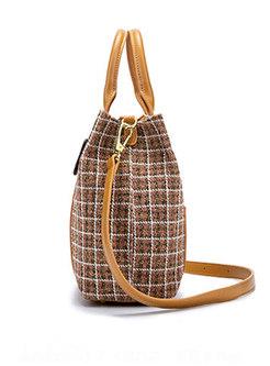 Plaid Splicing PU Buckle Top Handle & Crossbody Bag