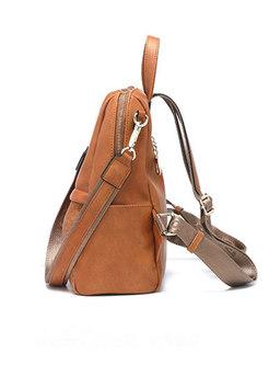 Vintage PU Zipper Tassel Backpack