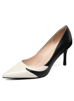 Color-blocked Pointed Head Spring Shoes