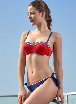 Bandeau Color-blocked Tied Tankini