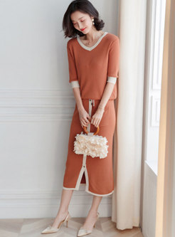 Color-blocked V-neck Knitted Top & Tie-waist Slit Bodycon Skirt
