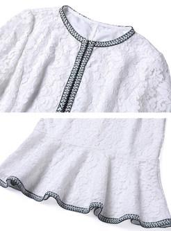 Elegant Lace Flare Sleeve Top & Sheath Mermaid Skirt