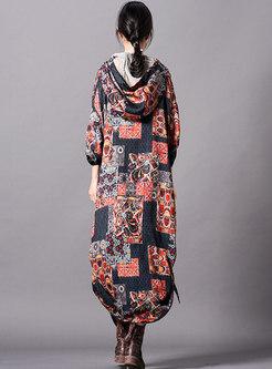Casual Print Hooded Asymmetric Loose Maxi Dress