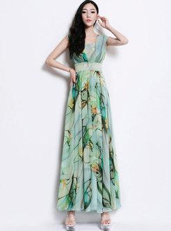 Fashion Plus Size Print Flouncing Sleeveless Chiffon Dress