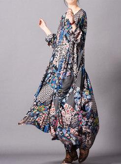 Retro Print O-neck Asymmetric Hem Maxi Dress