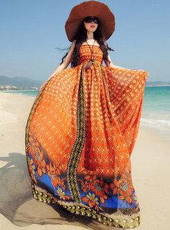 Fashion Print Slash Neck Sleeveless Big Hem Maxi Dress