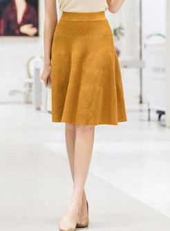 Pure Color Elastic Waist Knitted A Line Skirt