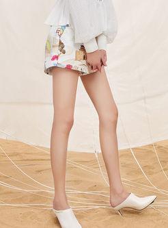 Fashion High Waist A Line Print Shorts