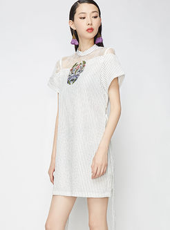 Sexy Perspective Lace Striped Skater Dress