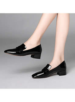 Casual Solid Color Patent Leather Shoes