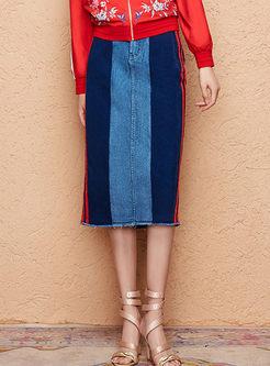 Color-blocked High Waist Denim Maxi Skirt