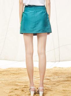 High Waist Tied Embroidered Mini Skirt