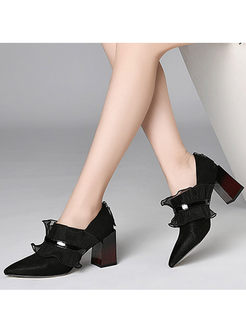 Leather Pointed Head Shoes With Mesh Detail