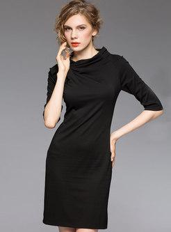 Sexy Black Sheath Dress Half Sleeve Dress