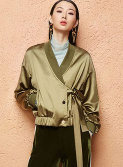 Stylish Solid Color V-neck Tied Coat