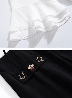 Brief Color-blocked Splicing Tied Collar Falbala Dress