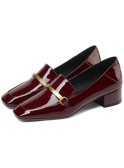 Stylish Square Toe Chunky Heel Loafers Shoes