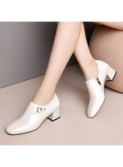 Women Solid Color Square Toe Zippered Slit Shoes