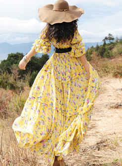 Fashion Print Patchwork Chiffon Maxi Dress