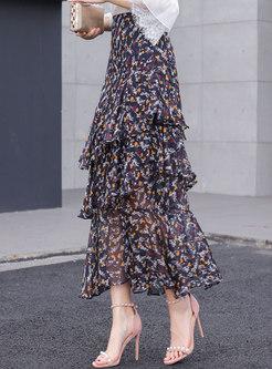 Chiffon Floral High Waist Layered Skirt