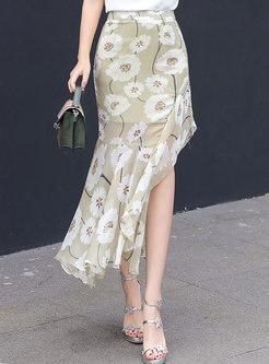 Stylish Print High Waist Asymmetric Skirt