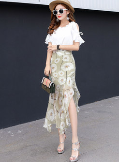 Stylish Print High Waist Asymmetric Skirt