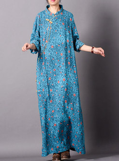Vintage Floral Stand Collar Loose Maxi Dress