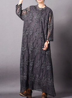 Solid Color Lace Embroidered Maxi Dress