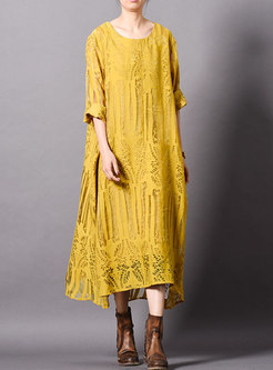 Pure Color O-neck Hem Loose Maxi Dress