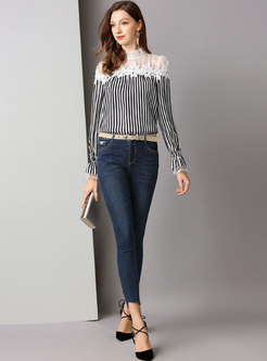 Mesh Striped Patchwork Flare Sleeve Blouse