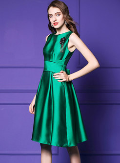 Brief O-neck Tied Stereoscopic Decoration Ball Gown
