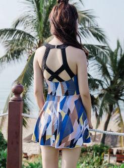Stylish Geometric Print One Piece Swimwear
