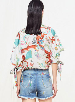Standing Collar Print Tied T-shirt