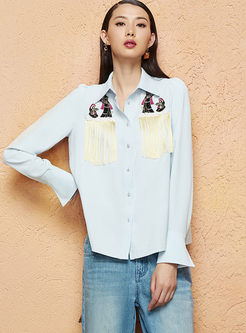 Lapel Long Sleeve Single-breasted Blouse