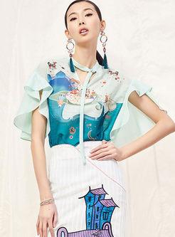 Fashion V-neck Falbala Chiffon Blouse