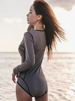 O-neck Long Sleeve Zippered Swimwear