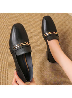 Black Leather Spring/Fall Shoes With Metal