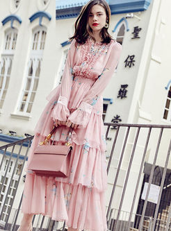 O-neck High Waist Flare Sleeve Maxi Dress