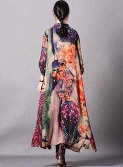 Vintage Print Bat Sleeve Loose Maxi Dress