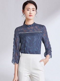 Polka Dot Stand Collar Flare Sleeve Blouse