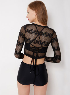 Sexy Black O-neck Perspective Cover-up Swimwear